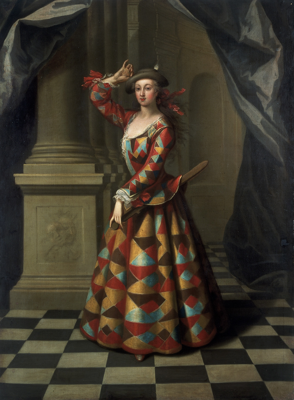 the origins of ballet victoria and albert museum hester booth as a female harlequin oil painting by john ellys england about 1722 25 museum no s 668 1989