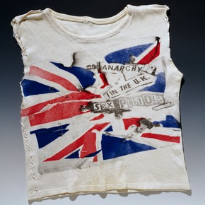 Anarchy in the UK T-shirt, by Vivienne Westwood & Malcolm McLaren, 1977-8, worn and altered by Johnny Rotten. Museum no. S.794-1990