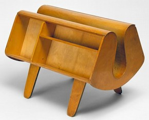 Isokon Penguin Donkey Bookcase, designed by Egon Riss and Jack Pritchard, 1939, manufactured by Isokon Furniture, London, plywood. Museum no. W.19-1993. Given by Mr J.E.Tinkler