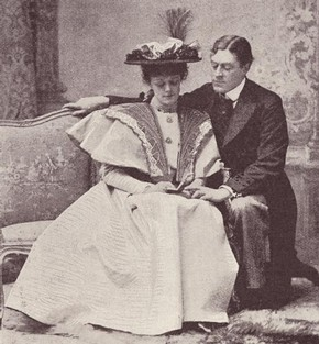 Irene Vanbrugh as Gwendolen Fairfax and George Alexander as Jack Worthing in the 1895 production of 'The Importance of Being Earnest', from The Sketch magazine, London, March 1895. NAL 131655