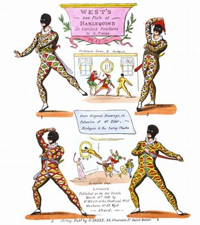 Hand-coloured photolithographs of Harlequins, early 20th century reprint of original by William West, 1824. © Victoria and Albert Museum, London