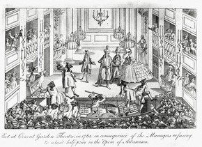 The Riot during the Opera Artaxerxes, lithograph, Covent Garden Theatre, London, 1763