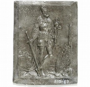 Lead plaquette depicting the emperor Charlemagne, by Peter Flötner, Nuremberg, Germany, about 1540. Museum no. 110-1867