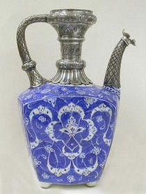 Ceramic ewer, with corroded silver 19th century mounts (after treatment), 1520. Museum no. C.2008-1910