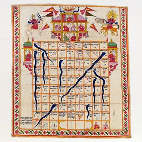 Snakes and ladders, India, late 19th century. Watercolour on cloth. Museum no. CIRC.324-1972
