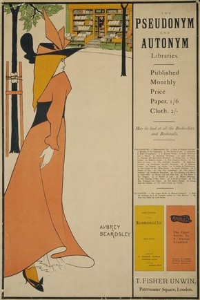 Aubrey Beardsley, poster, 'Pseudonym & Autonym Libraries'. Museum no. E.1376-1931