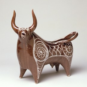William Newland, &#39;Bull&#39;, earthenware, height 359mm, width 377mm, 1954. Museum no. Circ.57-1954 