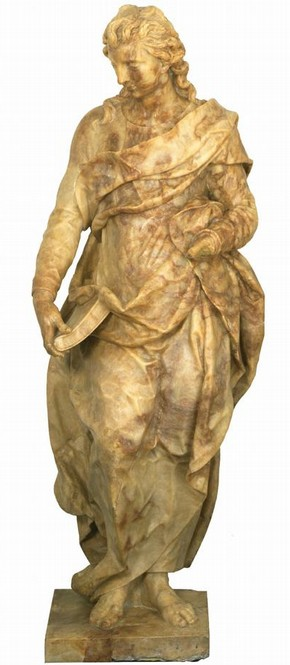 Marble statue of St John the Evangelist, by Henrik de Keyser, about 1613, 's-Hertogenbosch, Netherlands. Museum no. 1046-1871