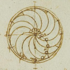 Leonardo da Vinci, 'Study in Perpetual Motion' (detail), Forster Codex, Volume II-2, 91v, 1495-97. Museum no. F.141 Volume II-2 V91 (Forster)