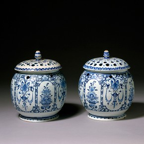 Pot pourri vases, Rouen, France, about 1710. Museum no. 440-1870