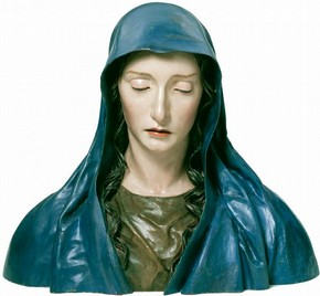 'The Virgin of Sorrows', painted pine inset with ivory and glass, by José de Mora, Granada, Spain, about 1670–80. Museum no. 1284-1871