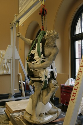 Technical Services moving an object. Installation of Bernini's Neptune & Triton in sculpture gallery