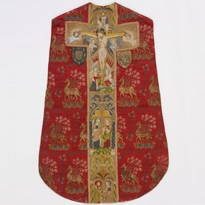 Brocaded silk chasuble with embroidery in silk and silver-gilt thread, by unknown maker, probably England, 1400-30. Museum no. T.256-1967