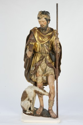 Painted and gilded limewood statue of St Roch, Rioja, Spain, 1540-50. Museum no. A. 66-1951