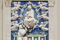 Altarpiece of the Assumption of the Virgin, by the workshop of Andrea della Robbia, about 1486–1525. Museum no. 6741-1860, room 50b