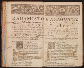 George Frideric Hadel & Nicola Francesco Haym, libretto for Handel's Radamisto, printed by Thomas Wood, London, 1720. Museum no. S.501-1985