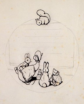 Beatrix Potter, Design for the back cover of 'Peter Rabbit's Painting Book', 1911. Museum no. BP.1103IV