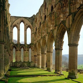 The church of the Cistercian monastery of Rievaulx Abbey Yorkshire, UK, founded in 1132 and abandoned during the Dissolution of the Monasteries (1536–41). © English Heritage Photo Library.
