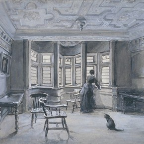 Interior of Sir Paul Pindar's house, wash drawing by Frank E Cox, about 1890