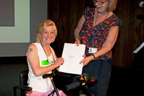 Daphne Golding receiving her Access Prize from Head of Diversity Strategy Unit, Eithne Nightingale