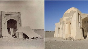 Front of Muhammadan tomb, Kharakhoto, Sir Marc Aurel Stein, 1914. Photo 392/29(85), © The British Library Board (left). Same view, Rachel Roberts, 2008. Photo 1187/1(2), © International Dunhuang Project (right)