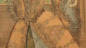 Figure 23 - Detail of gown and the bottom of left sleeve, Mademoiselle Subligny dansant a l'Opera, Jean Mariette (publisher), 1688-1709. Museum no. 1197-1875, given by Lady Wyatt, photography by Alice Dolan