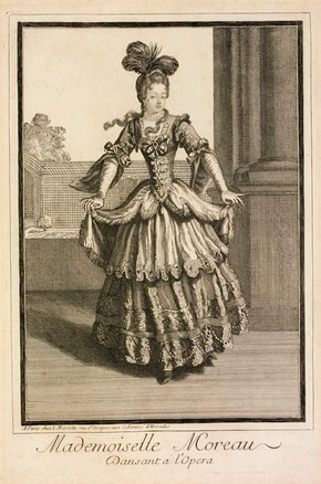 Figure 21 - Engraving, Mademoiselle Moreau Dansant a lOpera, Jean Mariette (publisher), Paris, about 1660-1742. Museum no. 4957-1968, given by Dame Marie Rambert