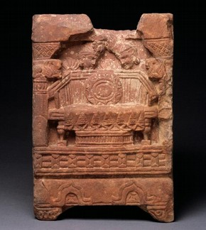 Figure 2. Throne of Buddha, sculpture, Mathura, India, about 2nd century, red carved sandstone, 33 x 22 x 9 cm. Museum no. Is. 1039-1883