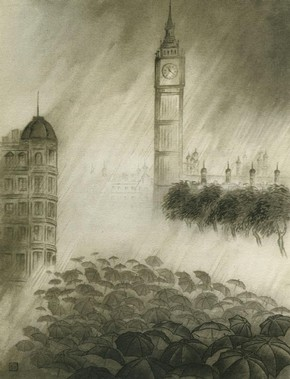 Figure 4 - 'Umbrellas under Big Ben', Chiang Yee, 1938, ink on paper, reproduced as plate V in 'The Silent Traveller in London' (1938)
