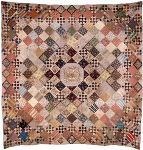 Figure 10 - Quilted patchwork bed cover, 1810-45, England. Museum no. T.17-1924