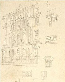 John Soane's House, sketch, Pugin Senior, 1833. Museum no. L5184-1969