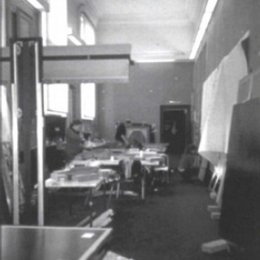 Figure 1. The team at work in the temporary studio in the former Paintings Galleries. Photography by Nicola Costaras