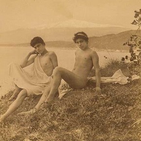 Wilhelm von Gloeden, 'Two Seated Sicilian Youths', about 1900. Museum no. 2815-1952. © Victoria & Albert Museum, London