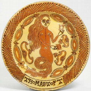 Mermaid dish made by Thomas Toft, 1670-89, Museum no. 299-1869