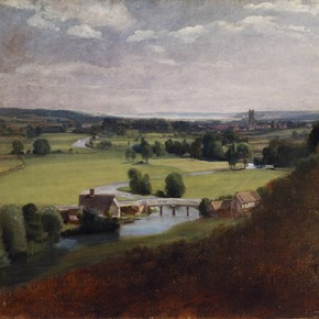 'The Valley of the Stour with Dedham in the distance' by John Constable, about 1800-8, Museum no. 321-1888