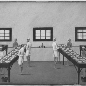 Figure 1. Opium factory at Gulzarbah, Patna, by Shiva Lal, c1857.