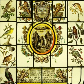 Decorative Panel with Birds, stained glass panel, 1629. Museum no. 465-1905