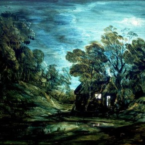 'Wooded Moonlight Landscape with Pool and Figure at the Door of a Cottage' by Thomas Gainsborough RA, about 1781, Museum no. P.33-1955