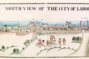 &#39;North View of the City of Lahore&#39;, panoramic view with Maharaja Ranjit Singh and attendants in the foreground, Lahore, about 1870. Museum no. IM.2(87)-1917