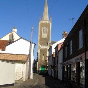 Looking up Church Street towards St Nicholas's church