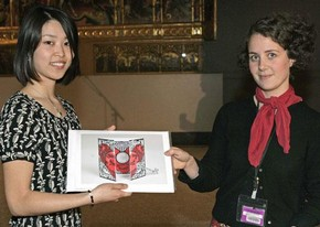 Winner Rie Aoki with Assistant Curator of Word & Image Sonia Solicari