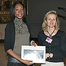 Winner of Textiles and Fashion Uju Obi with Project Co-ordinator Emmanuelle Cirier