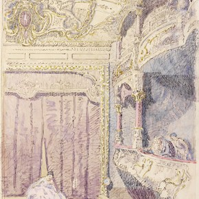 'Interior ... of the Old Grand Theatre, Colchester', by Walter Bayes, about 1940, Museum no. E.1368-1949