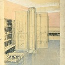 Helena Rubenstein, Grafton Street, London. Ernö Goldfinger (1902–87), 1927. Design for the interior, 1926. Charcoal and pastel on tracing paper. RIBA Library Drawings Collection