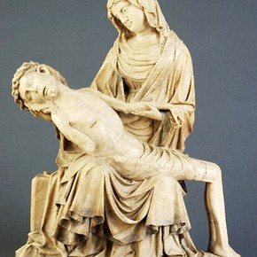 The Virgin with the Dead Christ, probably the Master of Rimini, about 1430. Museum no. A.28-1960