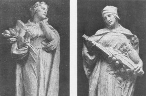 'Knowledge' and 'Inspiration' figures, on either side of the main entrance. Alfred Drury, R.A.
