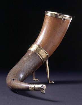 &#39;The Pusey horn&#39;, horn with silver-gilt mounts, unmarked, around 1400. Museum no. 220-1938