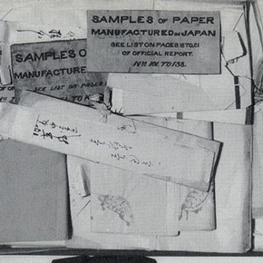 Fig. 5. Box of papers before cataloguing showing regional wrappers and hand-written labels.