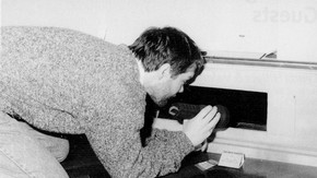 Fig.2. The routine 'bug-hunts' involve the monitoring of insect traps and inspection of 'dead spaces', here shown below a display case.