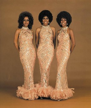 Peach Feathers Dresses designed by Bob Mackie, Motown Records archive